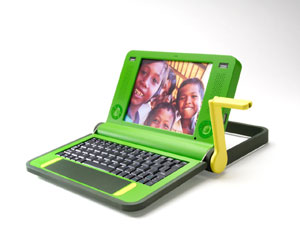 Image of the $100 laptop with crank extended